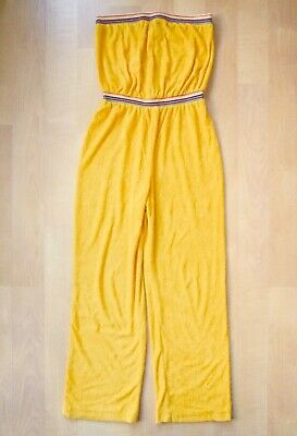 0a389d9c493 Vtg 70s Mod Canary Yellow Terry Strapless Tube Top Wide Leg Jumpsuit Junior  M L