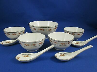Vintage Chinese Soup Serving 9 Piece Set Large Bowl, Four Small Bowls and Spoons