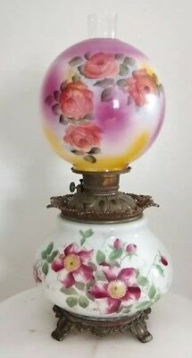 Antique VICTORIAN Era Gone with the Wind  Oil Lamp~Hand Painted Roses~Converted