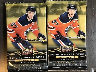 2x Lot 2018/19 UPPER DECK HOCKEY SERIES 1 HOT PACK GUARANTEED G/U JERSEY PATCH