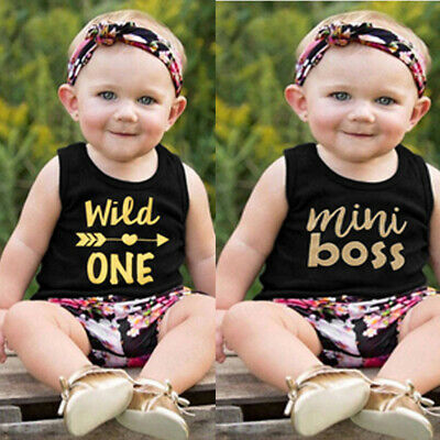Toddler Baby Boys&Girls Letter Print Vest Top+Floral Shorts+Headband Outfits Set