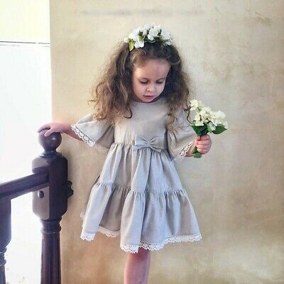 Children Baby Girls Bell Sleeve Bow-knot Lace Dance Party Dress Kids Clothes