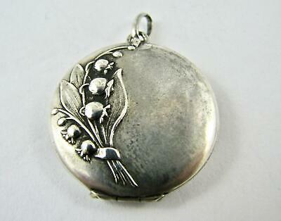 Antique Art Nouveau French 800-900 Silver Small Locket with Lily of the Valley