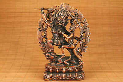 chinese red copper hand carved tibet buddha devil statue netsuke collectable