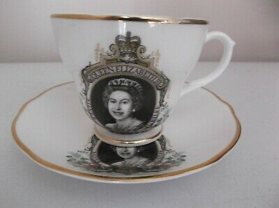Vintage Liverpool Road Pottery Ltd - Queen Elizabeth Silver Jubilee Cup & Saucer