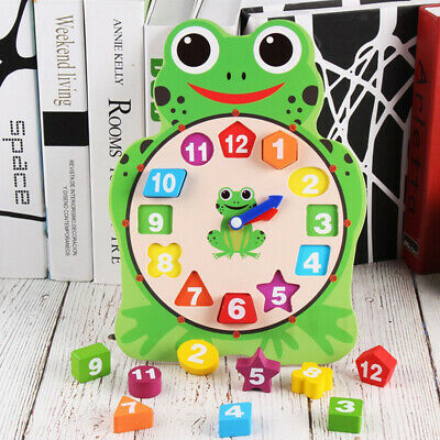 Animal Shape Blocks Sorting Clock Wooden Educational Puzzle Toy Owl/Frog