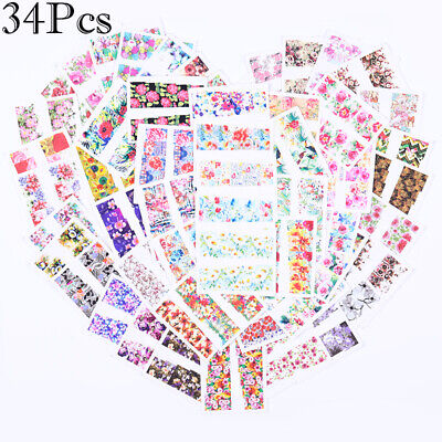 34Pcs Nail Water Transfer Stickers Flower Decals Nail Art Decoration 5.3*6.4cm
