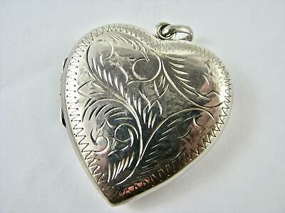 LARGE Vintage Sterling Silver Heart Locket Engraved English Sentimental Love VGC