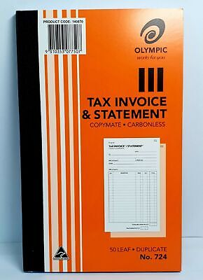 Olympic 724 Duplicate Tax Invoice & Statement Book 50 Leaf - AO140870