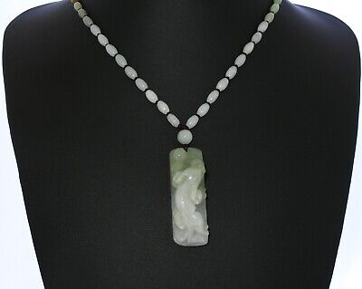 "2.1""China Certify Grade A Nature Hisui Jadeite Jade Wealth Pixiu Necklace"