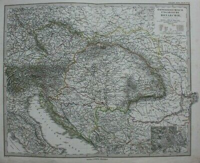 Original antique map AUSTRO-HUNGARIAN EMPIRE, AUSTRIA, HUNGARY, Stieler, 1886
