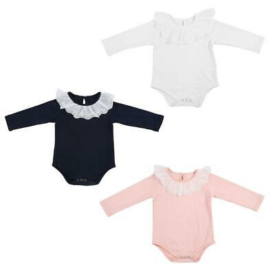Soft Cotton Infant Baby Girl's Lace Collar Long Sleeve Cotton Jumpsuit Outfit