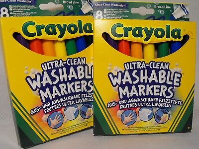 Crayola Coloured colouring Markers 2 PACKS OF KIDS  TODDLERS WASHABLE FELT PENS
