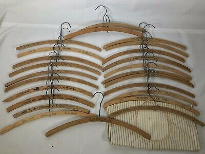 25PC Vintage Wood Hanger LOT Hotel Clothing Advertising Coat Clothes