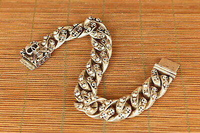 rare old tibet miao silver hand carving skull Statue bracelet noble gift