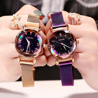 Fashion Ladies Watch Starry Sky Round Dial Women Bracelet Watches Magnetic Novel