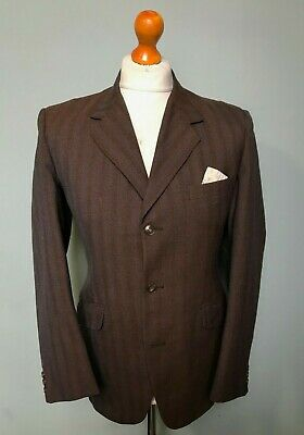 Vintage 1960's brown tonic single breasted suit size 38