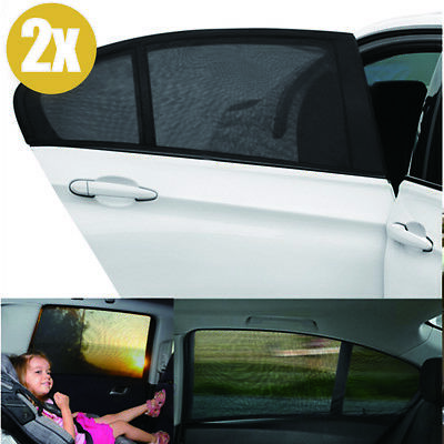 2x LARGE Car Sun Shade Cover Blind Mesh Rear Side Window Kid UV Protection UK