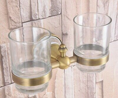 Antique Brass Toothbrush Holder Double Glass Cup Holder Wall Mounted lba583