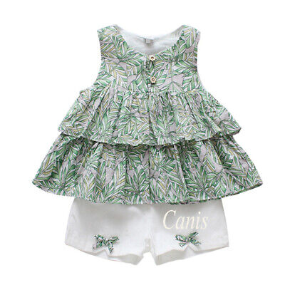 Toddler Baby Girl Top Floral Sleeveless Cupcake Dress Shorts 2Pcs Outfit Clothes