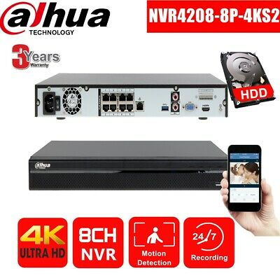 Dahua NVR4208-8P-4KS2 2/3/4TB 4K 8CH 8POE Ports H.265 NVR Network Video Recorder