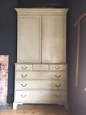 Magnificent 1900's Linen Press with Hanging Space And Adjustable Shelves