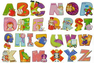 Childrens A-Z Alphabet 3D Object Wall Stickers for Boys or Girls Bedroom Nursery