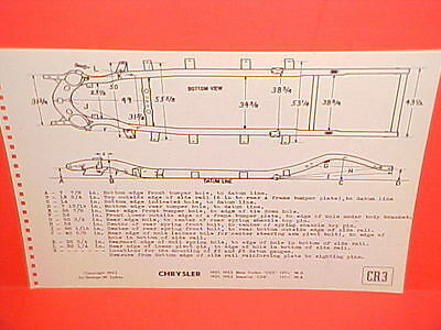 1951 1952 chrysler imperial new yorker convertible coupe frame dimension  chart