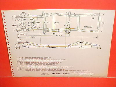 1955 Studebaker Champion Commander President State Coupe Frame Dimension Chart