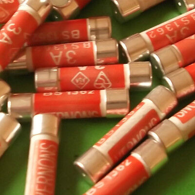 13 Amp Plug Top MIXED x 30pcs UK Fuses Mains Household Fuse's 3 Amp 5 A 13A mix