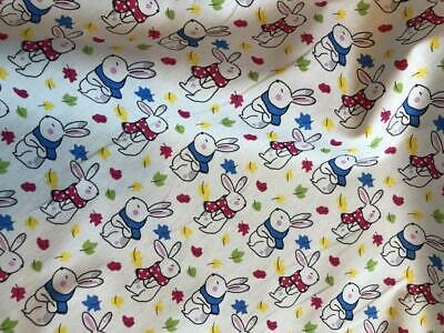100% Cotton Poplin Fabric by John Louden Bunny Rabbits Leaves Easter Material