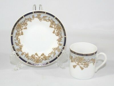 Adrea by Sadek Demitasse Cup and Saucer Set Blue Band Gold Floral Scroll Rope