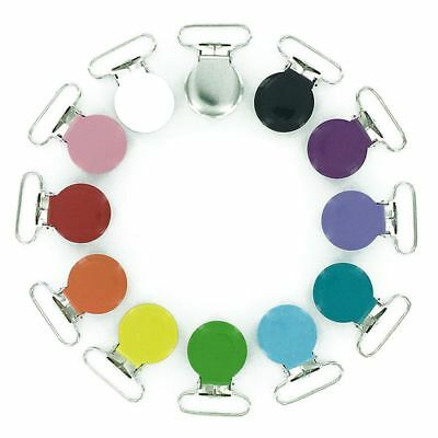5X(12 Enamel Round Face 1 inch Suspender Clips Starter Pack with Rectangle C3X8