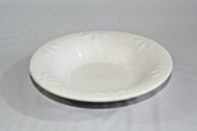 "Totally Today TTO13  7"" Rimmed Soup Cereal Bowl White Raised Dots and Fan Design"