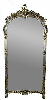 Vintage Labarge Louis XV Style Wall Pier Mirror w Silver Gilt Antique Finish