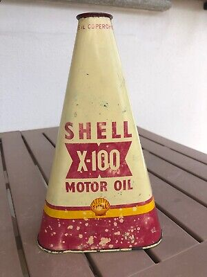 Bidon huile Shell X-100 1940 Motor Oil triangulaire oel dose oldose can garage