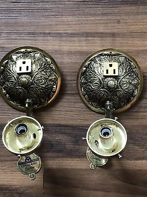 VTG Pair Brass Electric Wall Sconces Spanish Hollywood Regency NOS With Plug