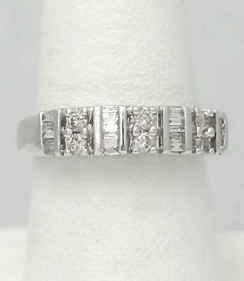 LADIES 14k WHITE GOLD 1/2ct ROUND BAGUETTE DIAMOND CHANNEL SET WEDDING BAND RING