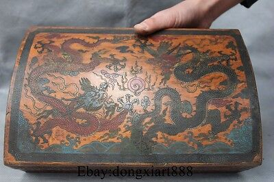 "11"" Marked Chinese Wood lacquerware Two Dragon Storage Box Boxes Case"