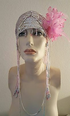 Gatsby Waterfall Pink Bead Silver Sequin Crystal Flower Flapper Headpiece Bridal