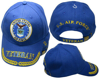 762b6998d United States Air Force Emblem Veteran Feather Royal Blue Embroidered Cap  Hat