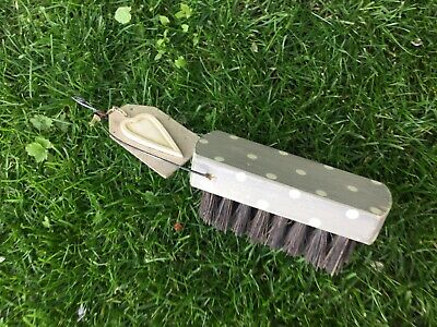 Traditional Floor Scrubbing Hand Brush Wooden Vintage Shabby Chic Polka Dot