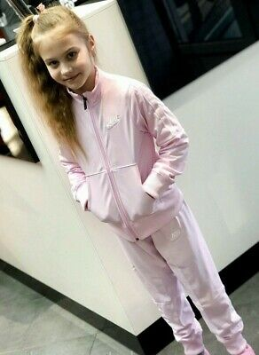 New Nike Junior Girls Sportswear Lifestyle Tracksuit Track suit Pink & White