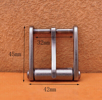 Novelty Mens Retro Solid Silver Single Prong Pin Metal Roller Belt Buckle 32mm