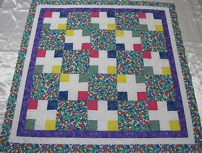 """Baby Lap 46/""""Sq USA Patchwork Quilt Top /""""Jewel Box #1/"""" ~PIECED~ Medallion Wall"""