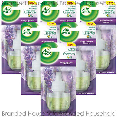 6 Air Wick Electrical Plug In Oil Refills Freshener 17Ml Purple Lavender Meadow
