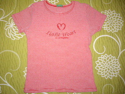 Girls Red & White Cotton United Colors Of Benetton Top Summer Heart 4-5-6 Y