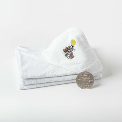 Bear Embroidered Baby Hooded Towel - Size 75 x 75cm 100% Cotton