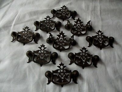 set (9) antique Drawer Pulls Handles for Cabinets/Dressers metal victorian rare