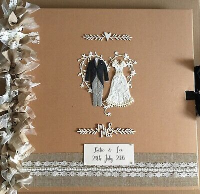 Large 12x12 Shabby Chic/Vintage Wedding Photo Album/Scrapbook/Guestbook
